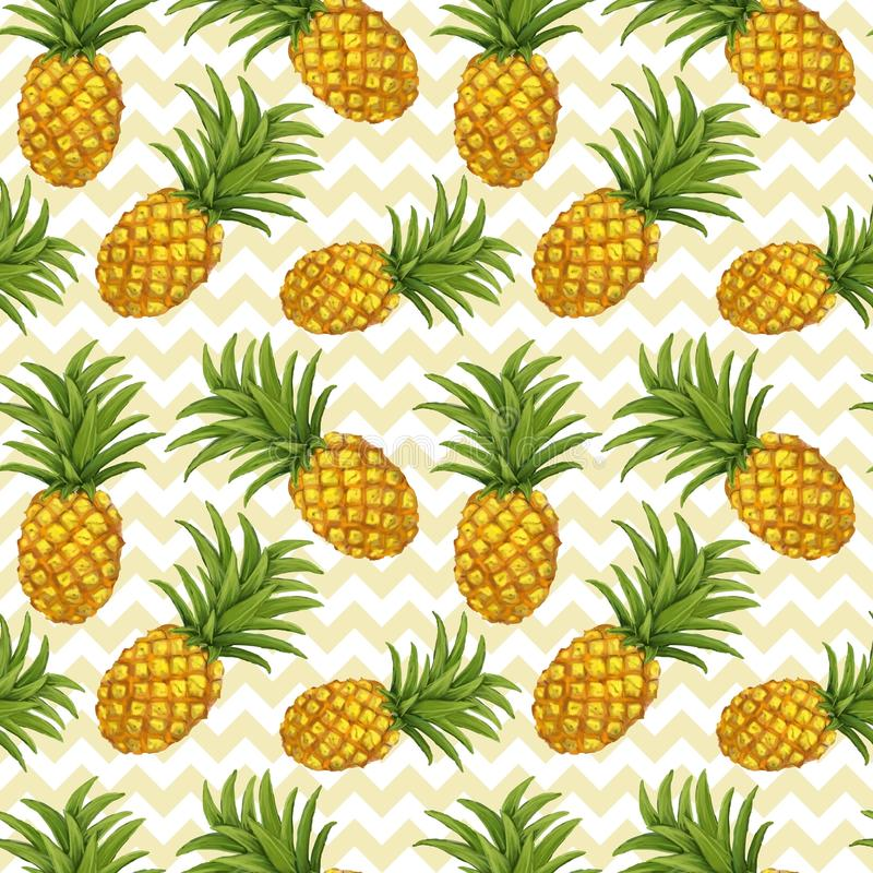 Hand drawn seamless pattern with pineapple stock illustration