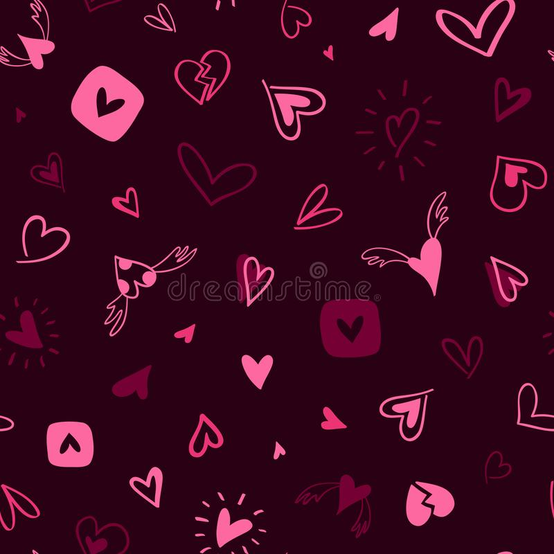 Hand-drawn seamless pattern of pink and burgundy hearts royalty free illustration