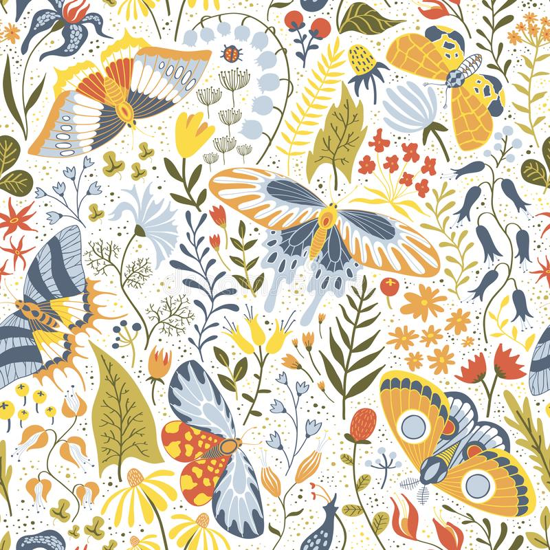 Hand-drawn seamless pattern with plants and butterflies royalty free illustration