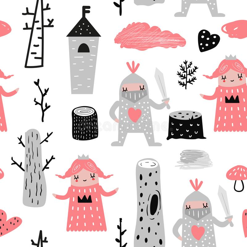 Hand Drawn Seamless Pattern with Princess and Knights. Creative Childish Background with Cute Hero Boys and Girls vector illustration