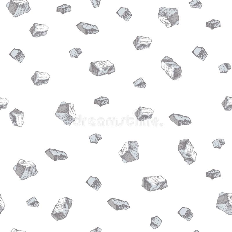 Hand drawn seamless pattern with salt crystals royalty free illustration