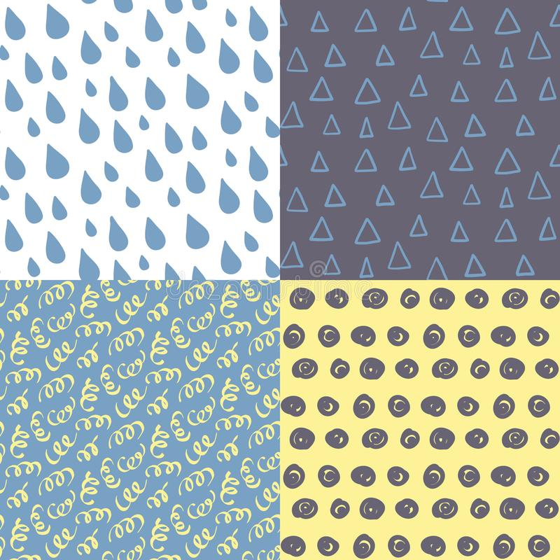 Hand drawn seamless pattern set. stock illustration