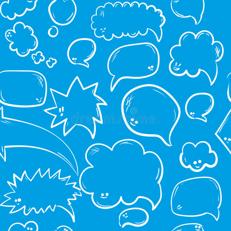 Hand drawn seamless pattern with speech or thought bubbles. Vector background. With funny faces royalty free illustration