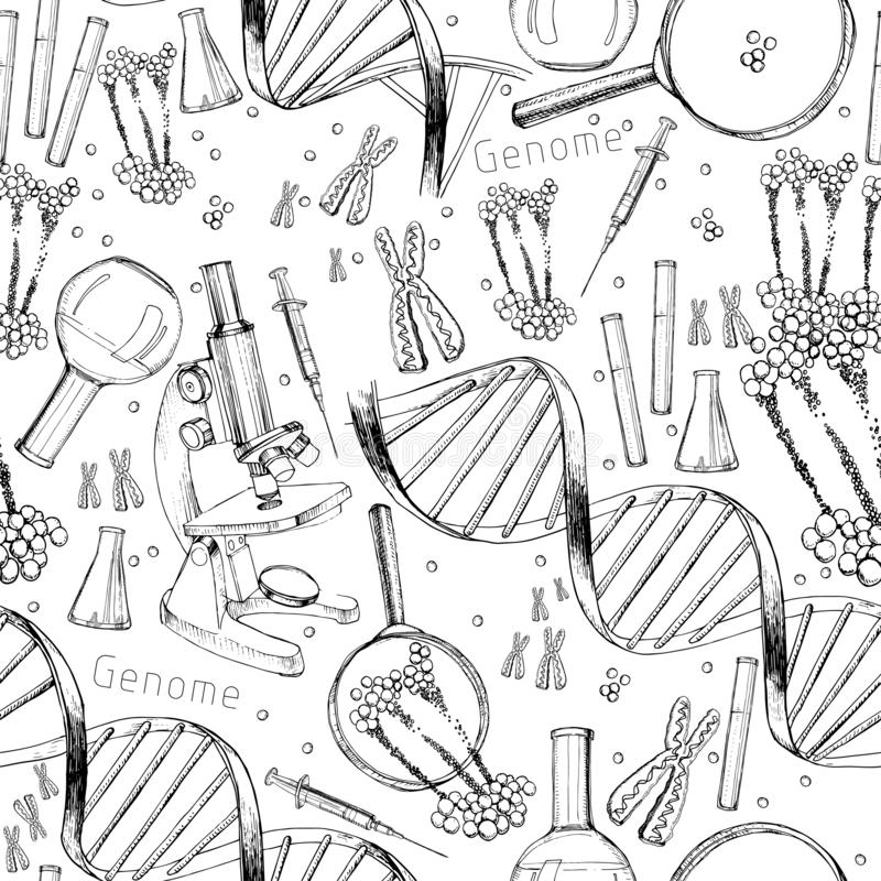 Hand drawn seamless pattern of structure of DNA. genome sequence. Health and biochemistry laboratory of nanotechnology. Vector illustration of Hand drawn royalty free illustration