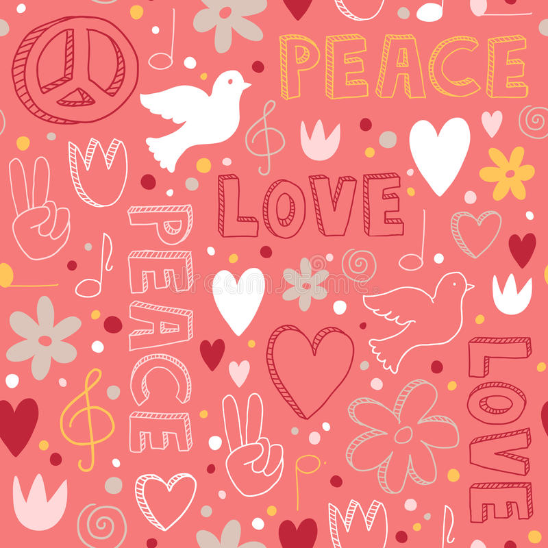 Hand-drawn seamless pattern with symbols of peace royalty free illustration