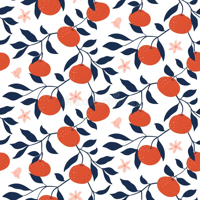 Hand drawn seamless pattern with Tangerines. Vector wallpaper vector illustration