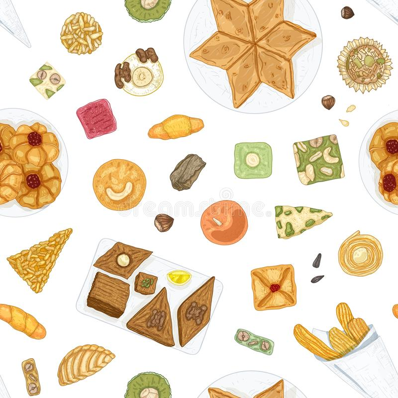 Hand drawn seamless pattern with traditional oriental confections or delicious pastry on white background. Elegant. Backdrop with delicious desserts for tea royalty free illustration
