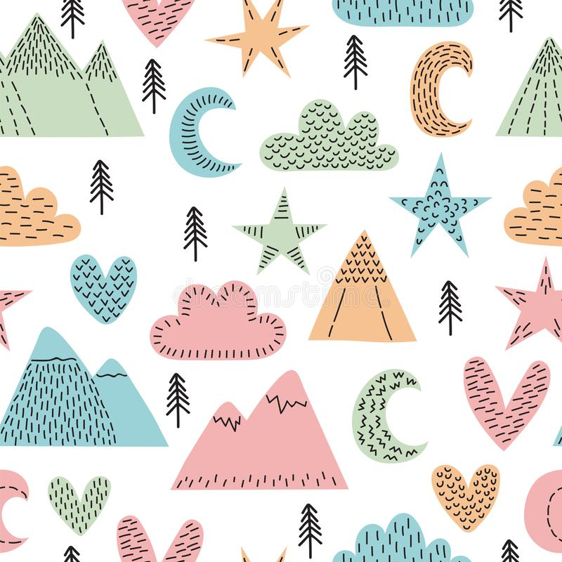 Hand drawn seamless pattern with trees, stars, hearts, clouds and mountains. Creative scandinavian woodland background. Stylish sk stock illustration
