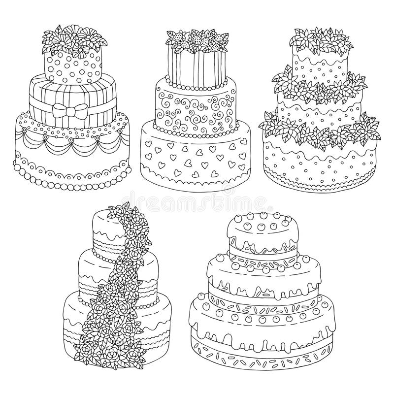 Hand Drawn Seamless Pattern With Triple Birthday Cakes. Vector ...