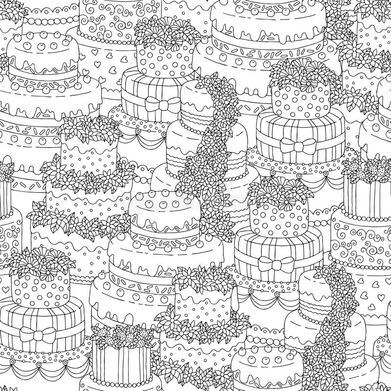 Hand drawn seamless pattern with triple birthday cakes. Vector illustration. Packing for a gift, template for greeting. Hand drawn seamless pattern with triple vector illustration