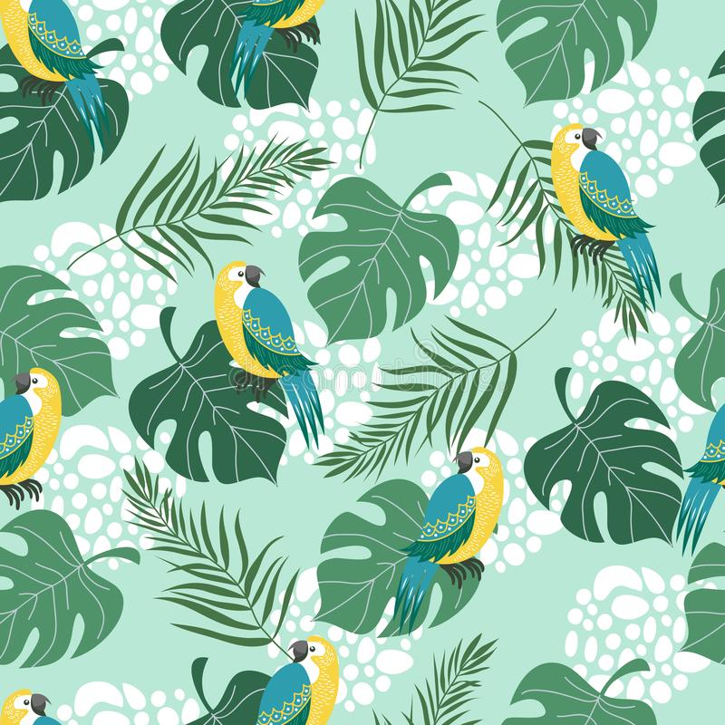 Hand drawn seamless pattern with tropical birds and leaves on blue background. Vector flat illustration of parrots . Hand drawn seamless pattern with tropical vector illustration