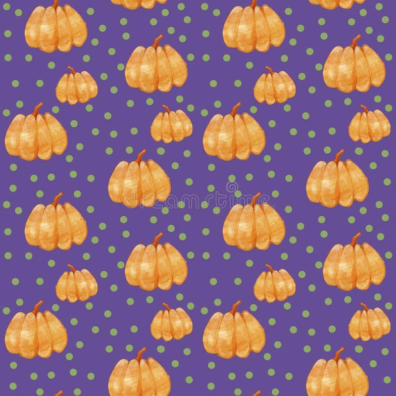 Hand drawn seamless pattern watercolor orange pumpkin with green circle isolated on violet background. vector illustration