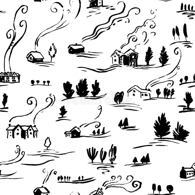 Hand drawn seamless pattern winter landscape with houses in doodle incomplete style. Artistic black and white illustration of country side. Design element for royalty free illustration