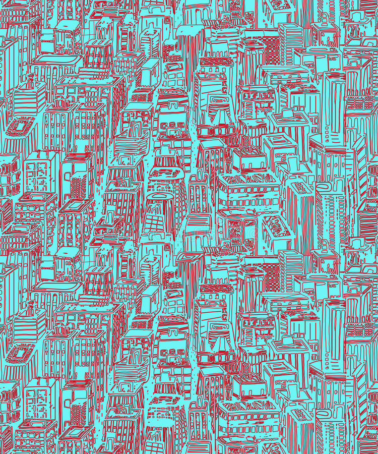 Free Hand Drawn Seamless Pattern With Big City New York Royalty Free Stock Images - 80510119