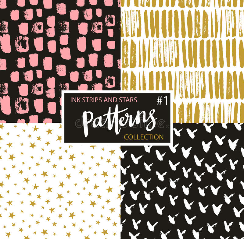 Hand drawn seamless patterns. Vector hipster backgrounds with ink strokes and stars. vector illustration