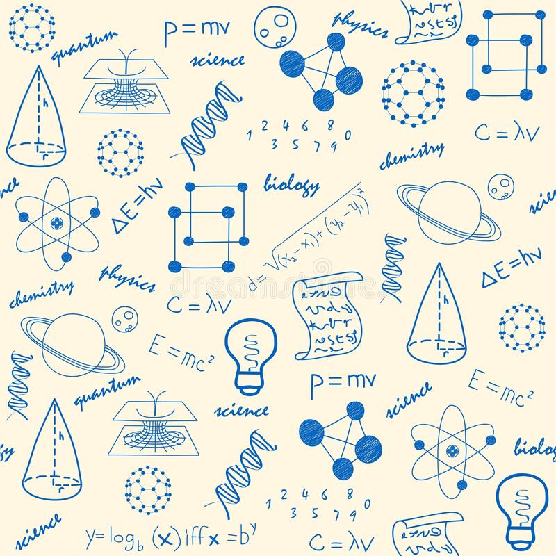 Hand Drawn Seamless Science Icons royalty free illustration