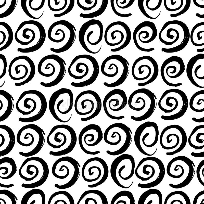 hand drawn abstract fashion seamless pattern  doodle swirl background  ink style backdrop stock