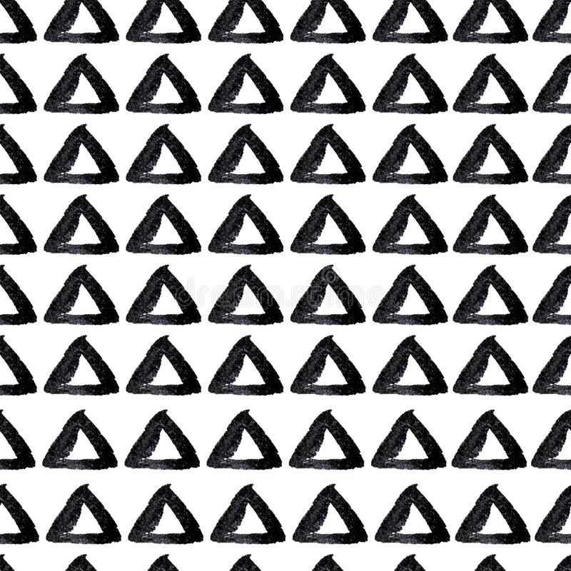Hand drawn seamless triangles background stock illustration