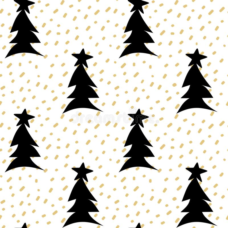 Hand drawn seamless vector pattern background illustration with gold confetti and black christmas trees with stars stock illustration