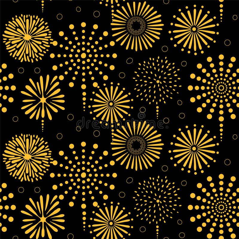 Fireworks seamless pattern. Hand drawn seamless vector pattern with bright golden fireworks, on a black background. Design concept for birthday party, New Year royalty free illustration