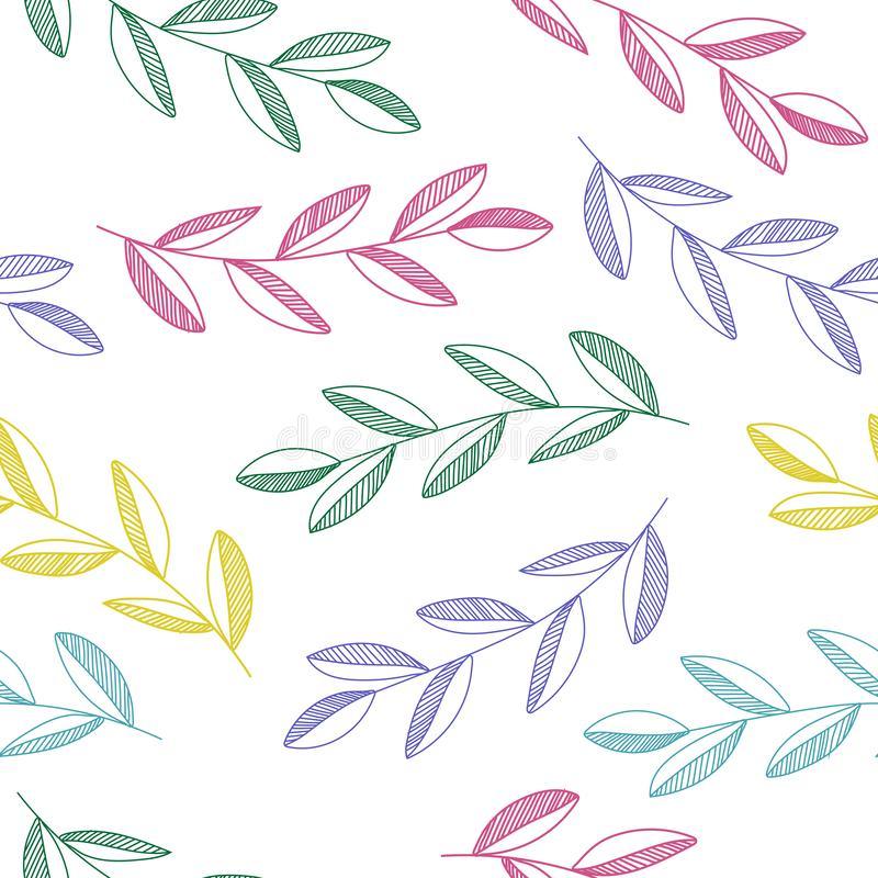 Hand drawn seamless vector pattern with colorful  leaves and branches isolated on white background. vector illustration