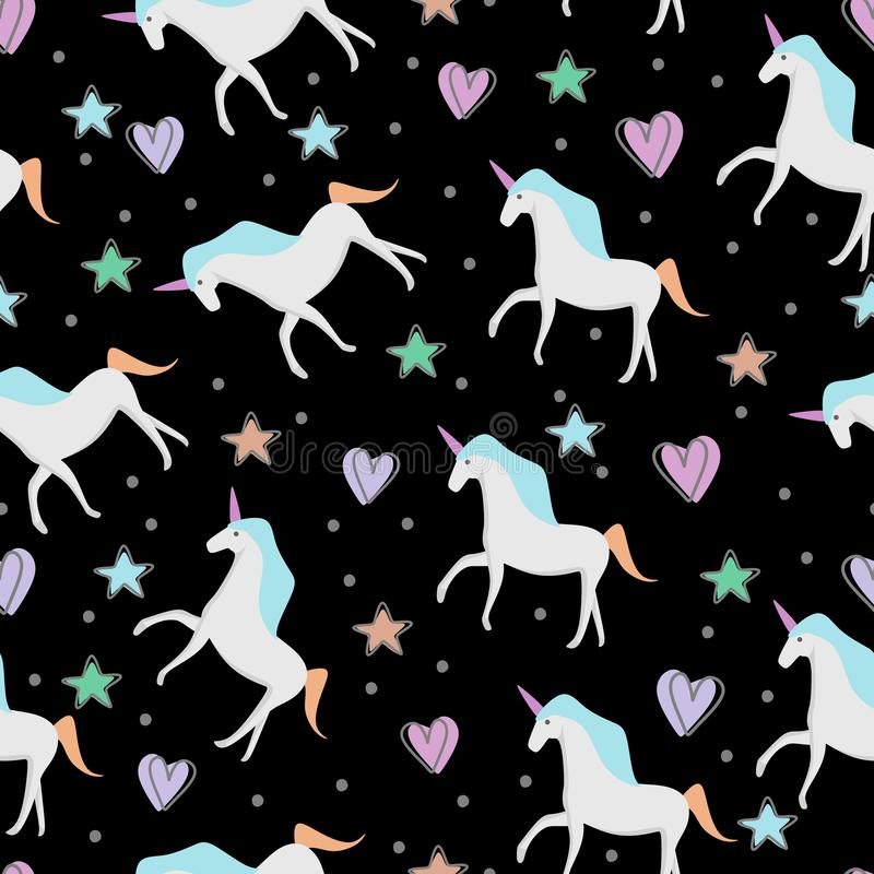 Hand drawn seamless vector pattern with cute baby unicorns and stars on dark background. Perfect for fabric, wrapping paper or. Nursery decor awesome style vector illustration