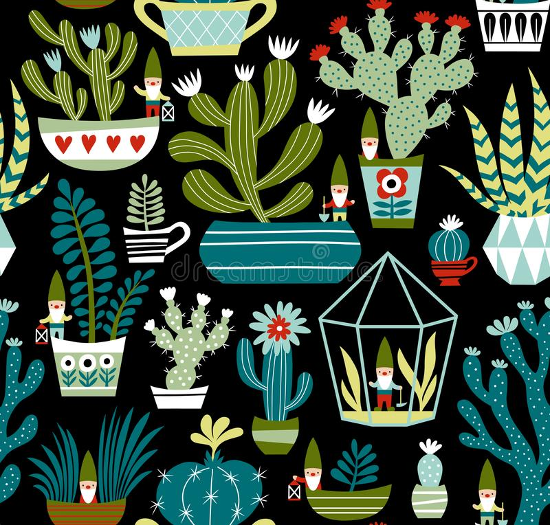 Hand drawn seamless vector pattern with cute gnomes, cactuses and succulents on black background. stock illustration