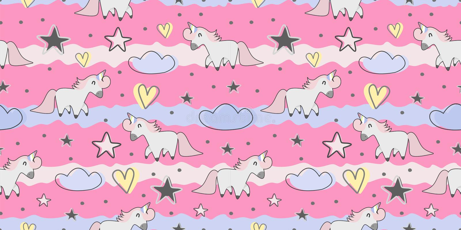 Hand drawn seamless vector pattern with cute unicorns. Repetitive wallpaper on pink background. Perfect for fabric, wallpaper,. Wrapping paper or nursery decor royalty free illustration