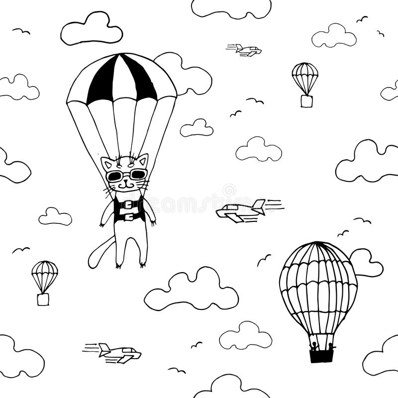 Hand drawn seamless vector pattern with skydiver cat, air baloon, planes and clouds. Design concept for kids textile print, wallpa royalty free stock image