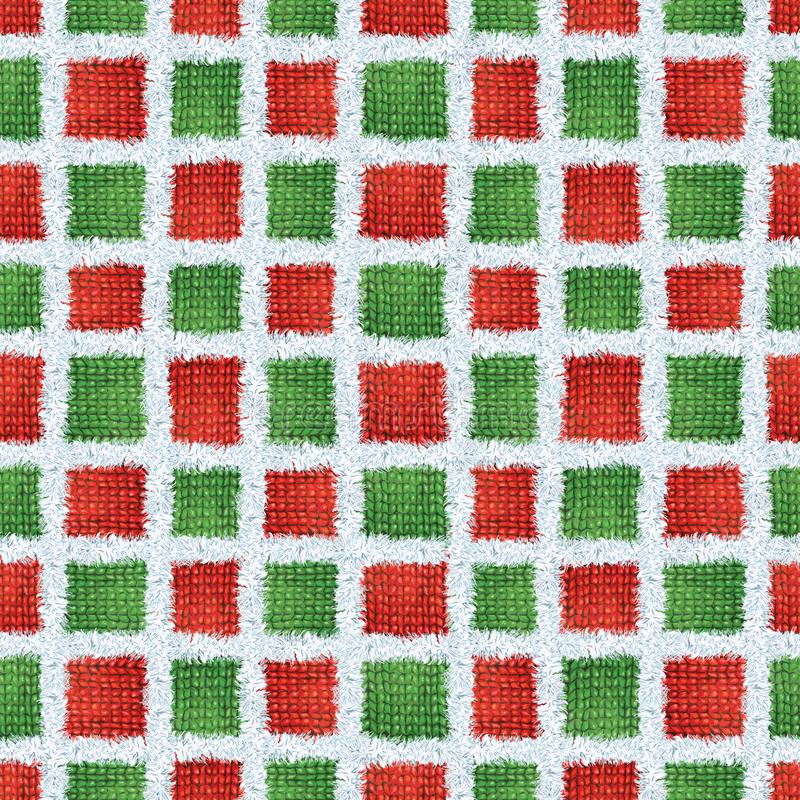 Seamless Vintage Scandinavian Style Christmas Colors Red and Green, Handmade Knitted Fur Trim yarn geometric pattern. Hand drawn Seamless Vintage Scandinavian royalty free stock image