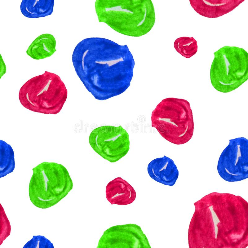Hand drawn seamless watercolor background illustration of multicolored beads on white background. Colorful illustrations royalty free illustration