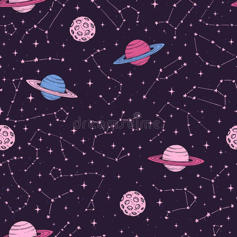 Hand drawn seamlesss pattern with zodiac constellations, planets and moons in pink pastel colors stock illustration