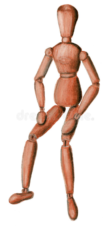 Hand drawn sepia wooden figure sitting illustration stock photography