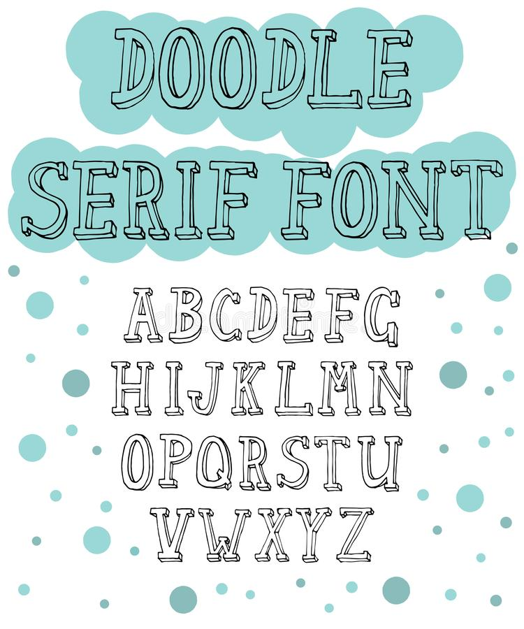 Hand drawn serif font for different designs royalty free illustration