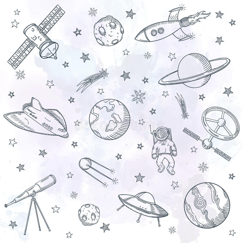 Hand drawn set of astronomy doodles. royalty free illustration