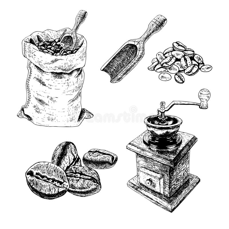 Hand drawn set of bag with coffee beans, manual coffee grinder, blade, bunch of coffee. Vector sketch vector illustration