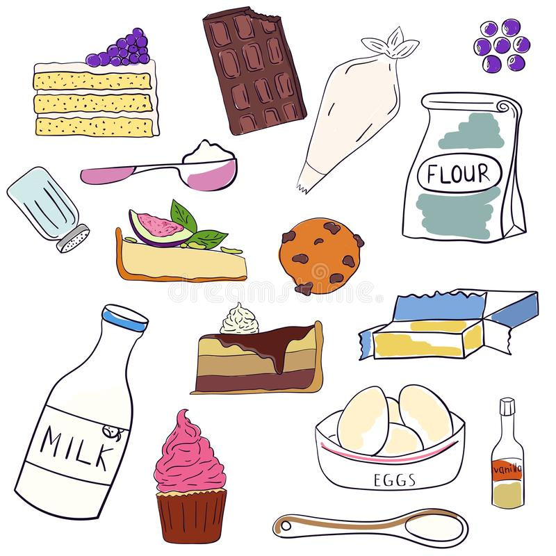 Hand drawn set of baking ingredients and desserts. Cake, chocolate and cookie. Vector illustration.  vector illustration