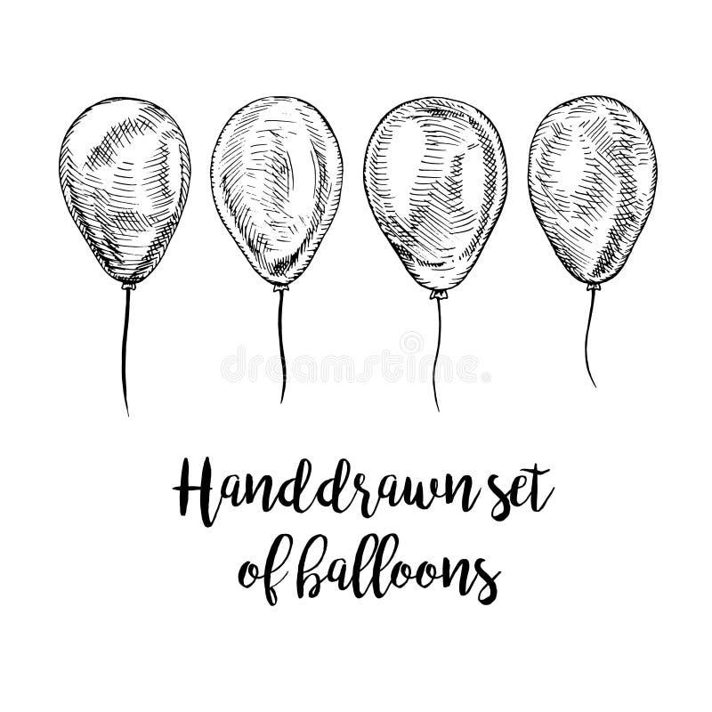 Hand drawn set of balloons. royalty free illustration
