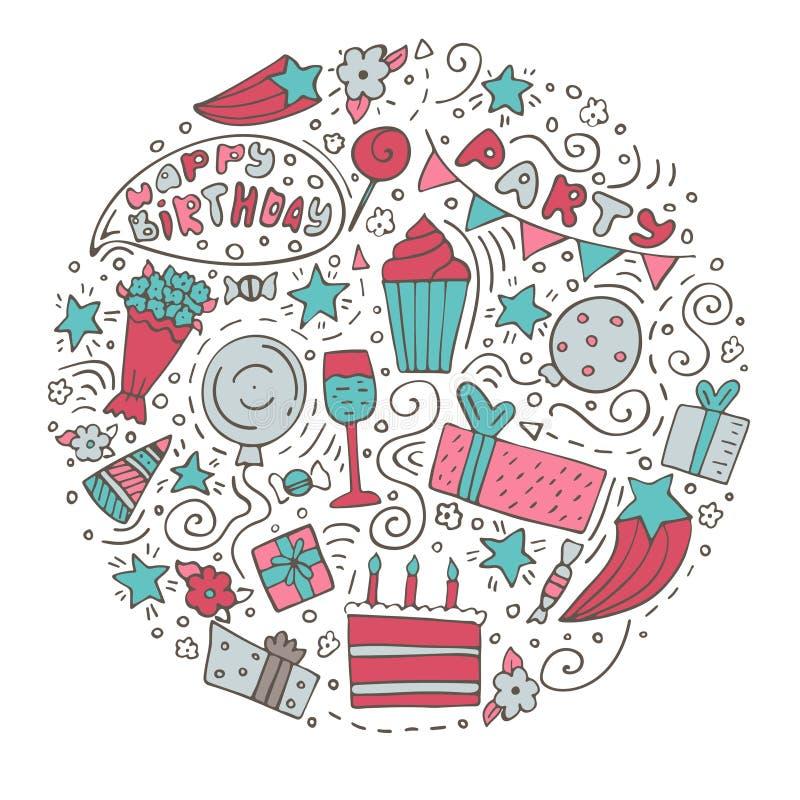 Hand-drawn set of Birthday ink doodles. Happy Birthday greeting card. Round form.  royalty free illustration