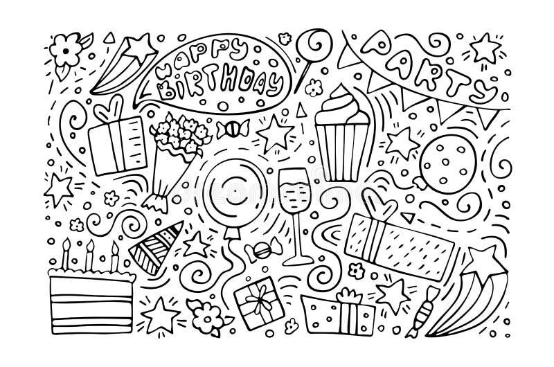 Hand-drawn set of Birthday ink doodles. Happy Birthday greeting card. Monochrome.  royalty free illustration