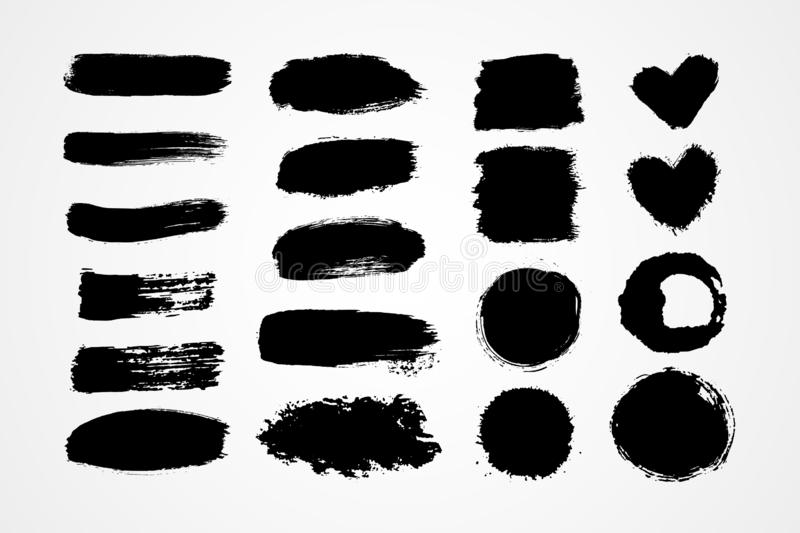Hand drawn set brush strokes royalty free illustration