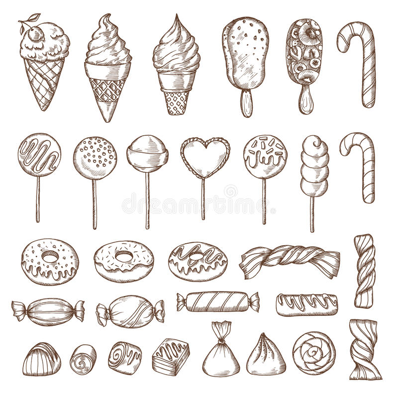 Hand drawn set of candies, cake pops, ice cream and donuts. Retro vintage vector illustration. stock illustration