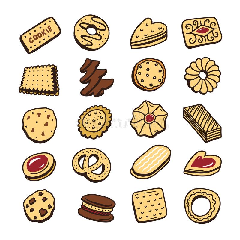 Hand drawn set of cookies biscuits desserts. Vector illustration. royalty free illustration