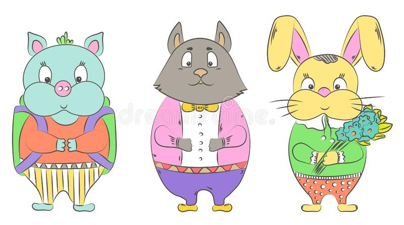 Hand drawn set of cute animals isolated on white background. stock illustration