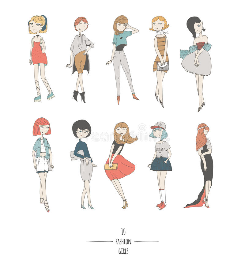 Hand drawn set with cute fashion girls in dresses, with different hair color and hairstyle, in evening and day apparel. Isolated. On white fun doodle cartoon royalty free illustration