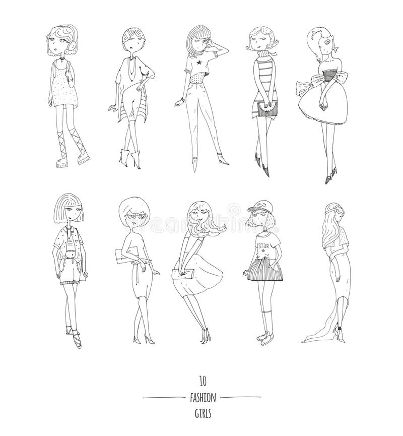 Hand Drawn Set With Cute Fashion Girls In Dresses With Different - Different hair style drawing