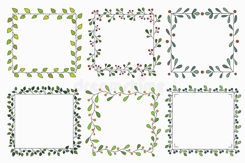 Hand drawn set of different floral vector wreath with green leaves, herbs forest, cute square rustic frame. vector illustration