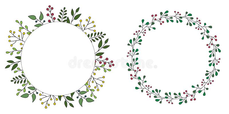 Hand drawn set of floral vector wreath with green leaves, herbs forest round, cute rustic frame border print. vector illustration