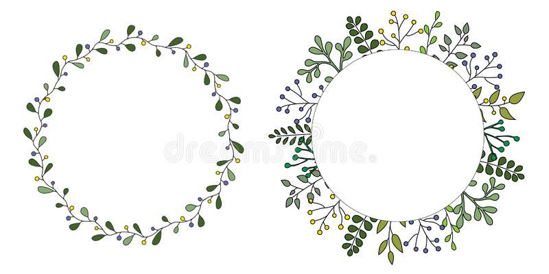 Hand drawn set of floral vector wreath with green leaves, herbs forest round, cute rustic frame border print. royalty free illustration