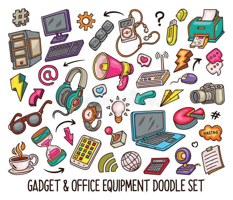 Hand drawn set of Gadget doodles in Colors vector-01 royalty free stock photography